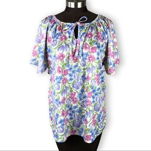 Vintage Floral Batwing Polyester Blouse Top